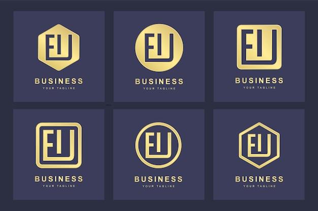 Ensemble de modèle de lettre initiale abstraite de logo ue ue.