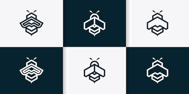 Ensemble de modèle de logo d'abeille avec le concept d'art en ligne de formes géométriques vecteur premium
