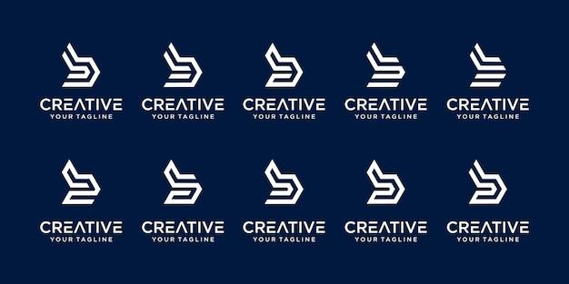 Ensemble de modèle de logo abstrait lettre b initiale.