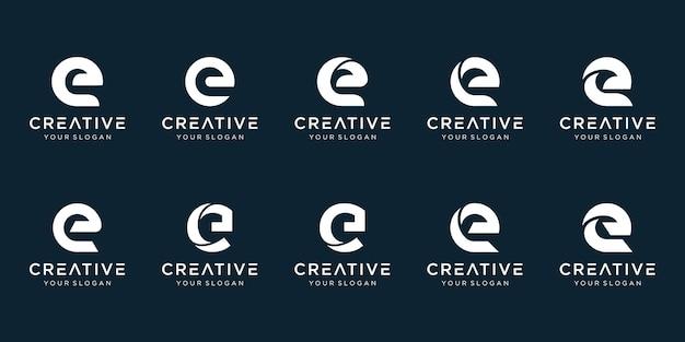 Ensemble de modèle de logo abstrait lettre e initiale.