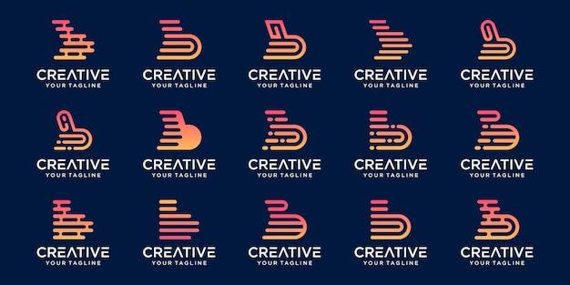 Ensemble de modèle de logo abstrait lettre initiale b. icônes pour les affaires de la mode, du numérique, de la technologie,