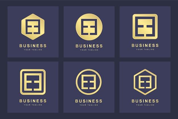 Ensemble de modèle de logo abstrait lettre initiale e ee.