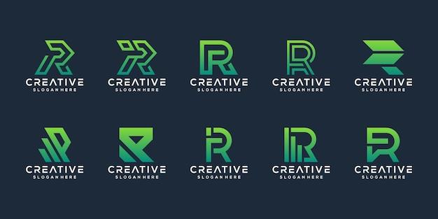 Ensemble de modèle de logo abstrait lettre initiale e