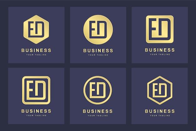 Ensemble de modèle de logo abstrait lettre initiale ed ed.