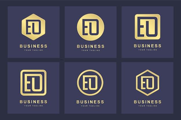 Ensemble de modèle de logo abstrait lettre initiale eo eo.