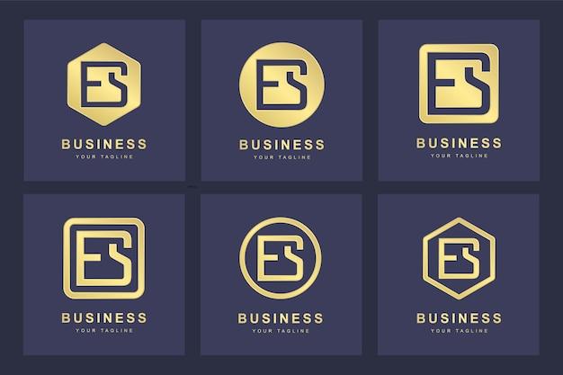 Ensemble de modèle de logo abstrait lettre initiale es es.
