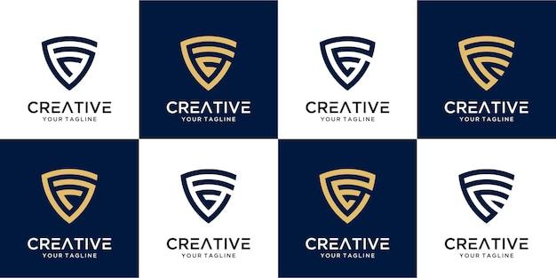 Ensemble de modèle de logo abstrait lettre initiale f