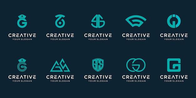 Ensemble de modèle de logo abstrait lettre initiale g. icônes pour les affaires de la mode, élégantes,