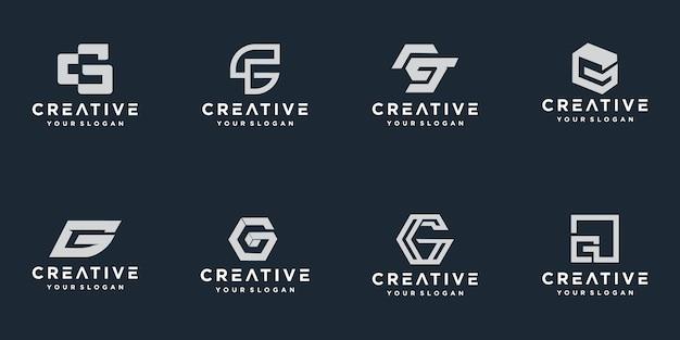 Ensemble de modèle de logo abstrait lettre initiale g.