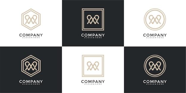Ensemble de modèle de logo abstrait lettre initiale m et w