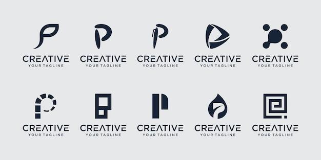 Ensemble de modèle de logo abstrait lettre initiale p. icônes pour les affaires de la mode, élégantes,