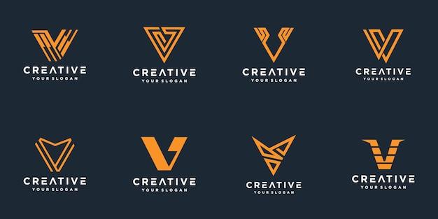 Ensemble de modèle de logo abstrait lettre initiale v.
