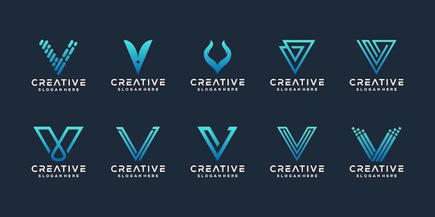 Ensemble de modèle de logo abstrait lettre initiale v