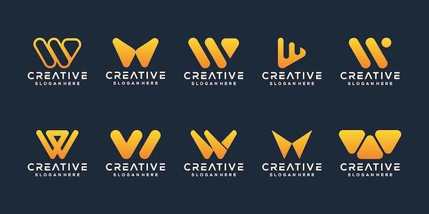 Ensemble de modèle de logo abstrait lettre initiale w