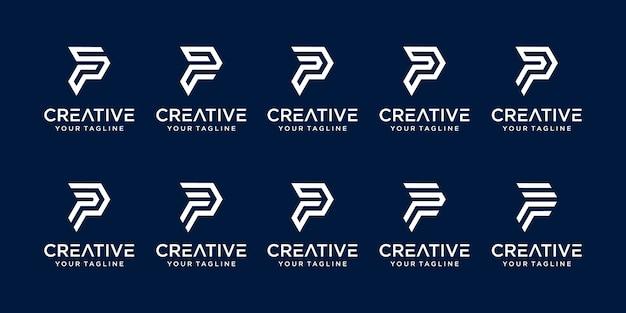 Ensemble de modèle de logo abstrait lettre p initiale. icônes pour les entreprises de mode, numérique, technologie,