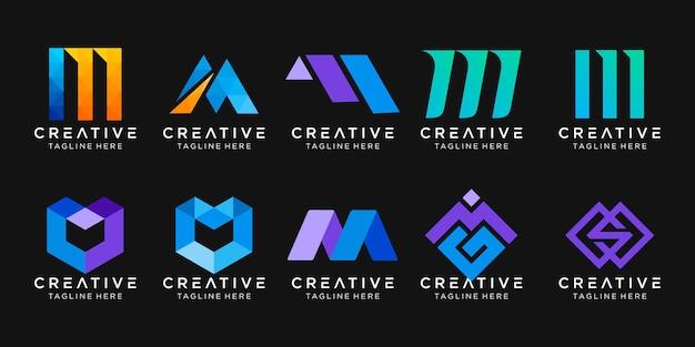 Ensemble de modèle de logo abstrait monogramme lettre m.