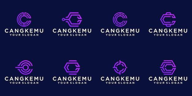 Ensemble de modèle de logo abstrait monogramme lettre c