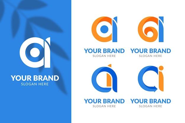 Ensemble de modèle de logo ai design plat