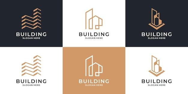 Ensemble De Modèle De Logo D'architecture De Bâtiment. Vecteur Premium