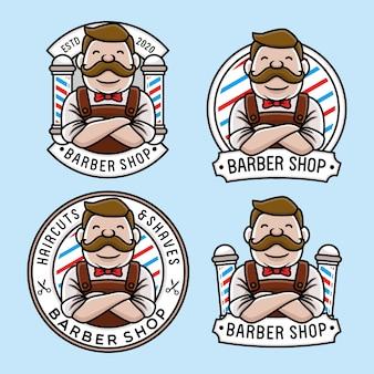 Ensemble de modèle de logo de barbier mignon