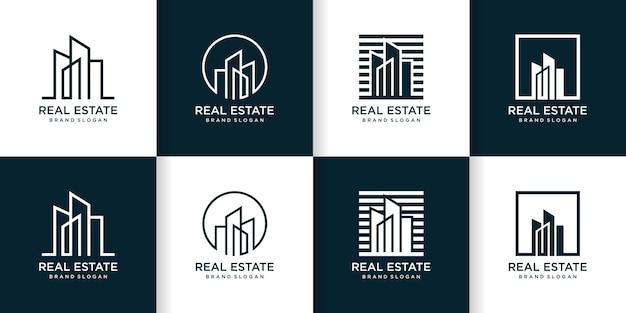 Ensemble de modèle de logo de bâtiment abstrait créatif