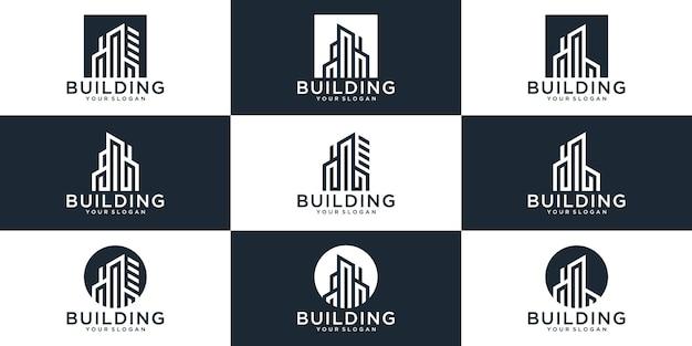 Ensemble de modèle de logo de bâtiment abstrait