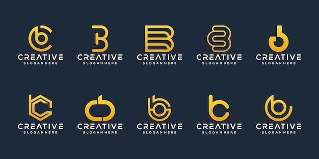 Ensemble de modèle de logo bc lettre initiale abstraite