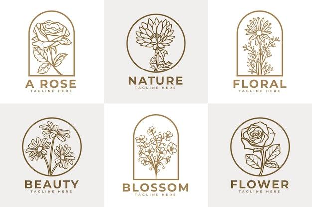 Ensemble de modèle de logo de beauté de fleurs féminines