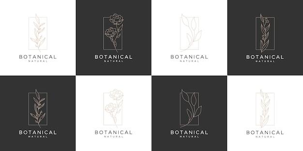 Ensemble de modèle de logo botanique rose de luxe