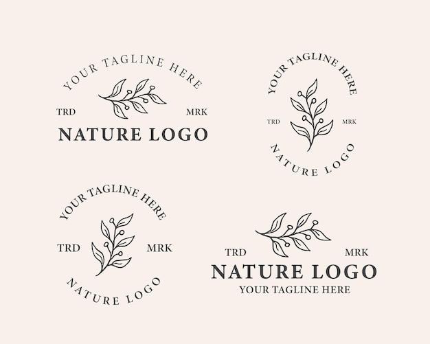 Ensemble De Modèle De Logo Botanique Vecteur Premium