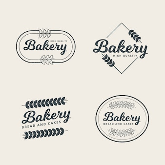 Ensemble de modèle de logo de boulangerie professionnelle