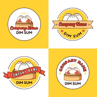 Ensemble de modèle de logo boulette ou dim sum avec fleur de sakura sur fond jaune