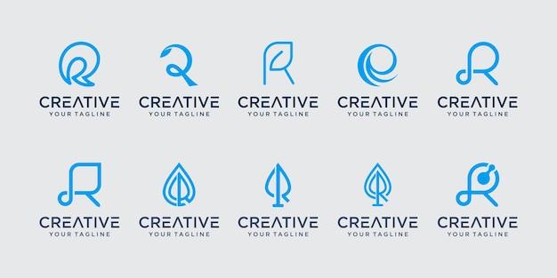 Ensemble de modèle de logo de collection initiale lettre r. icônes pour les affaires de feuille, nature, pure.