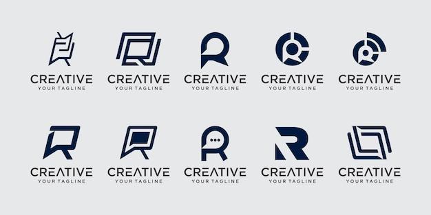 Ensemble de modèle de logo de collection initiale lettre r.