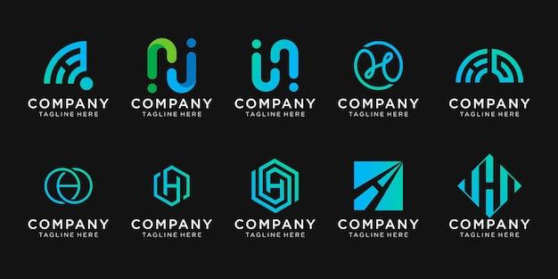 Ensemble de modèle de logo collection lettre initiale h.