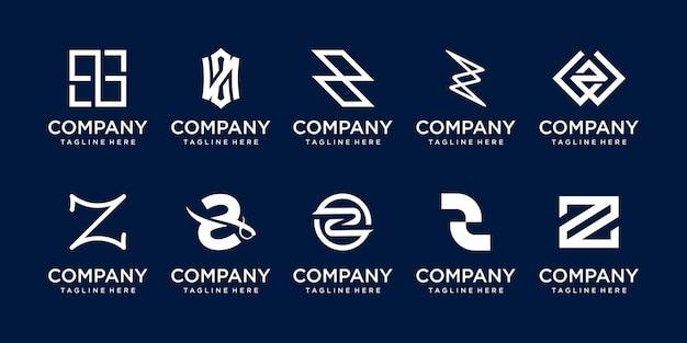 Ensemble de modèle de logo collection lettre initiale z.