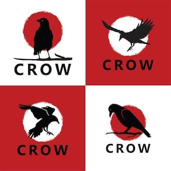 Ensemble de modèle de logo de corbeau