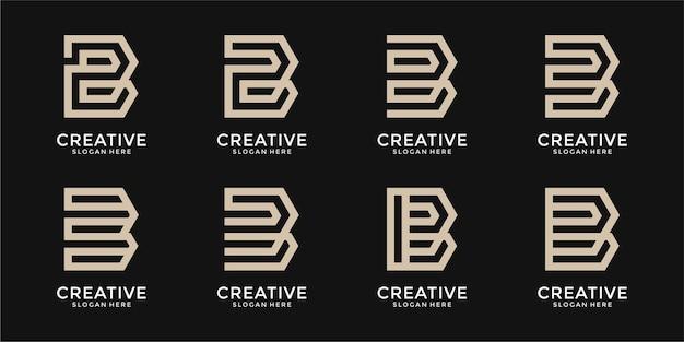Ensemble de modèle de logo créatif lettre b