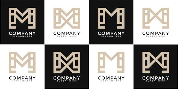 Ensemble de modèle de logo créatif lettre h
