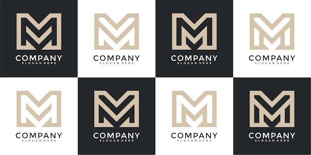 Ensemble de modèle de logo créatif lettre monogramme lettre m