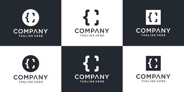 Ensemble de modèle de logo créatif monogramme lettre c et code.