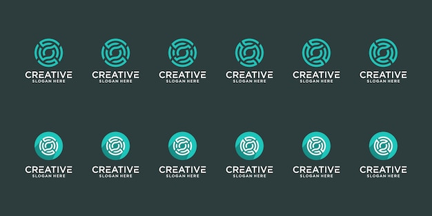 Ensemble de modèle de logo créatif monogramme lettre o.
