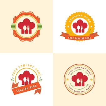 Ensemble de modèle de logo de cuisine ou de restauration ou de restaurant rouge et orange dans un fond jaune clair