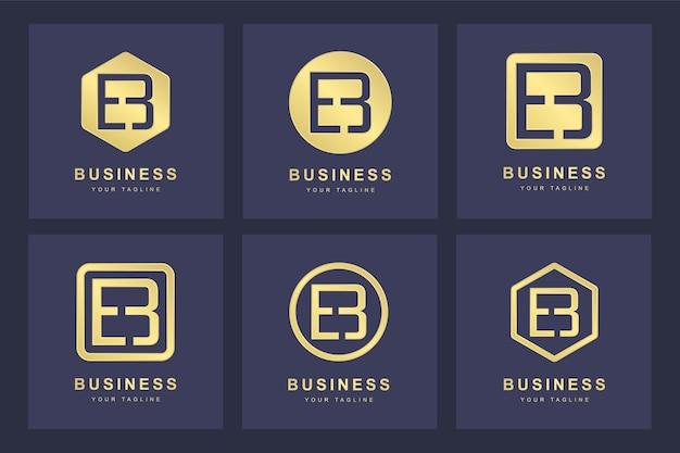 Ensemble De Modèle De Logo Eb Eb Lettre Initiale Abstraite. Vecteur Premium
