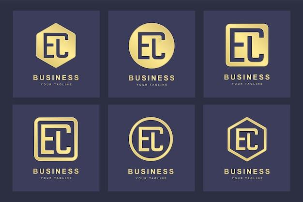 Ensemble de modèle de logo ec ec lettre initiale abstraite.