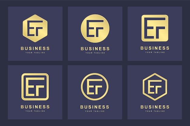 Ensemble de modèle de logo ef ef lettre initiale abstraite.