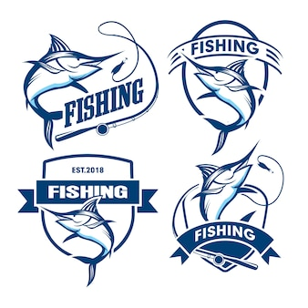 Ensemble de modèle de logo d'emblème de pêche