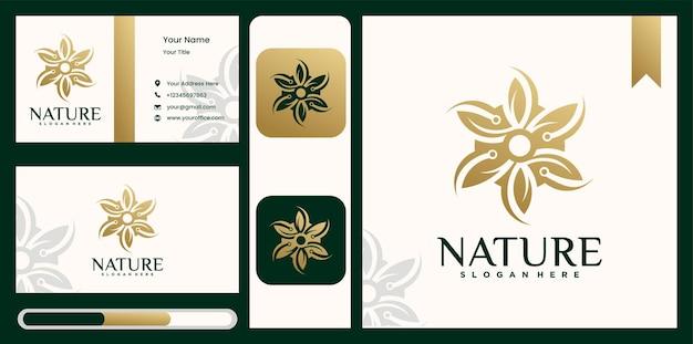 Ensemble de modèle de logo de fleur avec carte de visite