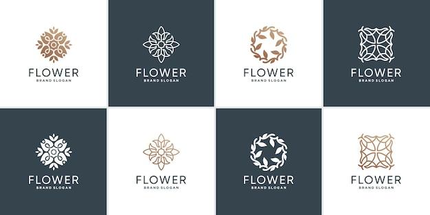 Ensemble de modèle de logo de fleur avec un style créatif vecteur premium