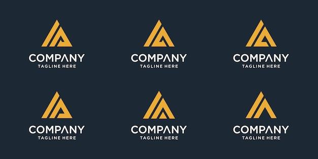 Ensemble de modèle de logo ia lettre initiale. icônes pour les entreprises de sport, automobile, simple. vecteur